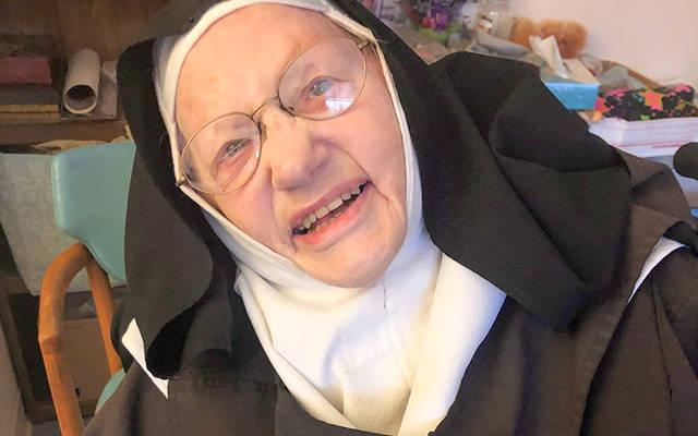 <p>Carmelite Sister Ruth Bittner poses for a photo Nov. 19, the day of her 100th birthday. (Photo courtesy of Dawn Gruba)  </p>