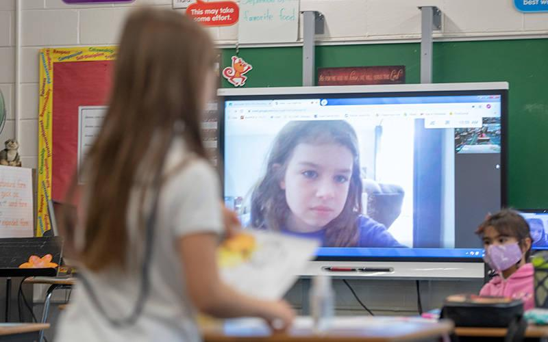 <p>Emily DiCesare participates in remote learning at Chili's St. Pius Tenth School Sept. 18. </p>