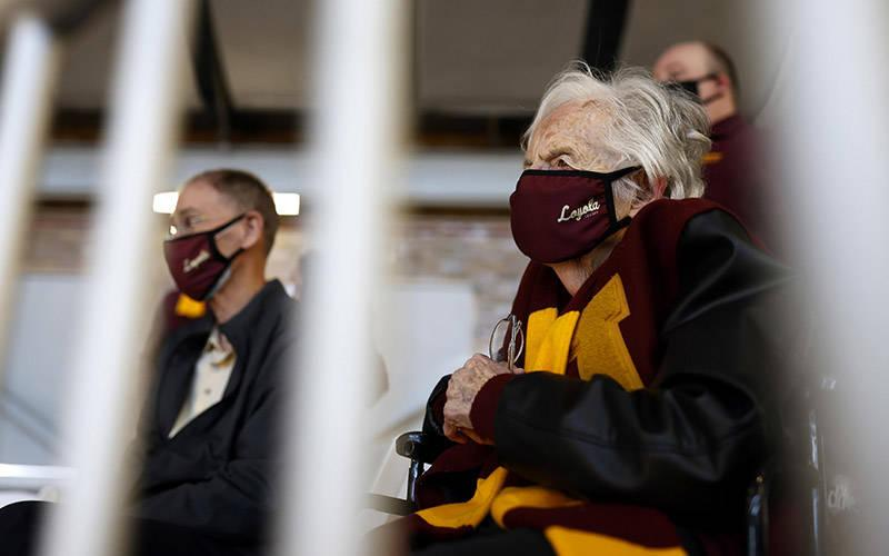 <p>Sister Jean Dolores Schmidt, longtime chaplain of the Loyola University Chicago men&rsquo;s basketball team, is seen March 19, 2021, during the first round of the NCAA Tournament at Hinkle Fieldhouse in Indianapolis. Sister Schmidt, a member of the Sisters of Charity of the Blessed Virgin Mary, was cleared to attend games after receiving her COVID-19 vaccine. (CNS photo by Alton Strupp/IndyStar, USA TODAY Sports via Reuters)  </p>
