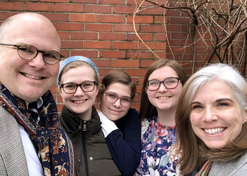 <p>Traci Cornett is seen with her husband, Alan, and their three daughters. For some people, the pandemic influenced their decision to seek out the Catholic Church as their faith home. (CNS photo by Traci Cornett via Don Clemmer)  </p>