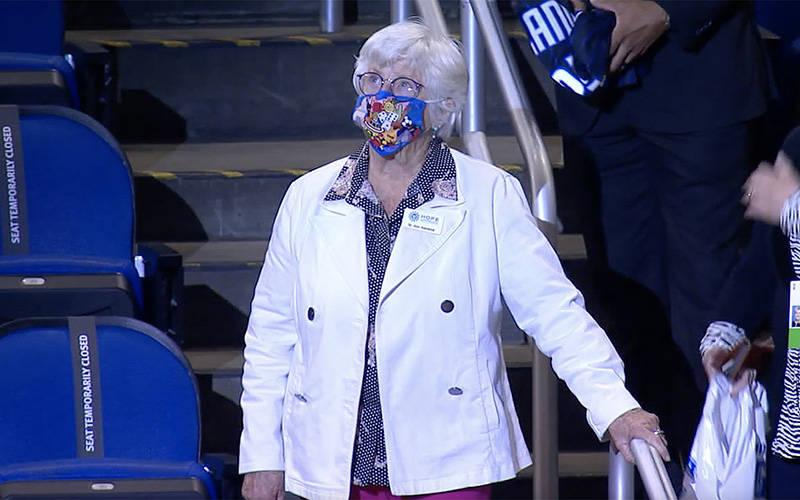 <p>Sister Ann Kendrick, a Sister of Notre Dame de Namur, is honored March 24, 2021, as one of &ldquo;Coach Clifford&rsquo;s Social Justice Game Changers&rdquo; during an Orlando Magic and Phoenix Suns&rsquo; NBA basketball game. She was recognized for her longtime advocacy for the rights of Florida&rsquo;s farmworkers. (CNS screen grab courtesy Orlando Magic)  </p>