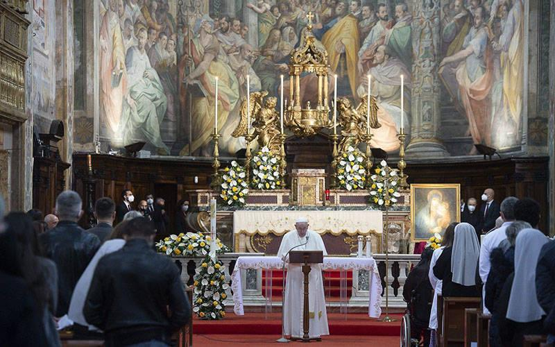 <p>Pope Francis celebrates Mass for Divine Mercy Sunday at the Church of the Holy Spirit near the Vatican in Rome April 11, 2021. (CNS photo by Vatican Media)  </p>