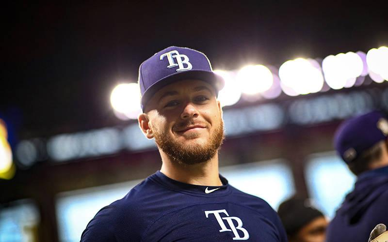 <p>Mike Brosseau of the Tampa Bay Rays is seen at Globe Life Field in Arlington, Texas, Oct. 25, 2020, before Game 5 of the World Series against the Los Angeles Dodgers.