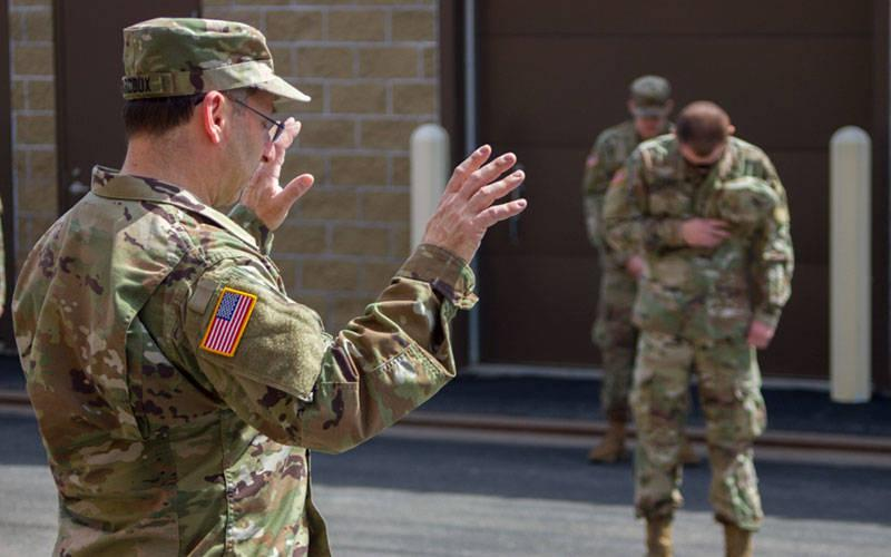 <p>Soldiers assigned to the 152nd Brigade Engineer Battalion received a blessing from Father Joseph Marcoux April 6, 2020, before being deployed to New York City to assist with the COVID-19 crisis. </p>