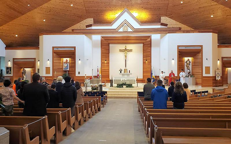 <p>People attend Mass at St. Matthew&rsquo;s Church in Surrey, British Columbia, during the COVID-19 pandemic. In mid-April, British Columbia Premier John Horgan announced that a ban on public worship would be extended for an additional five weeks. (CNS photo by Matthew Furtado/The B.C. Catholic)  </p>
