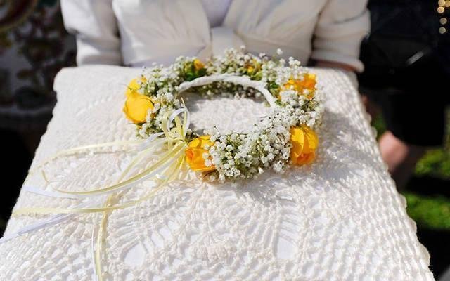 <p>A crown of flowers is seen during the May 25, 2012, May Day celebration at Our Lady of Mercy High School in Brighton. (Courier file photo)  </p>