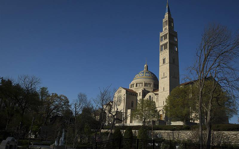 <p>The Basilica of the National Shrine of the Immaculate Conception in Washington is seen in Washington April 9, 2020, during the coronavirus pandemic. (CNS photo by Tyler Orsburn)  </p>