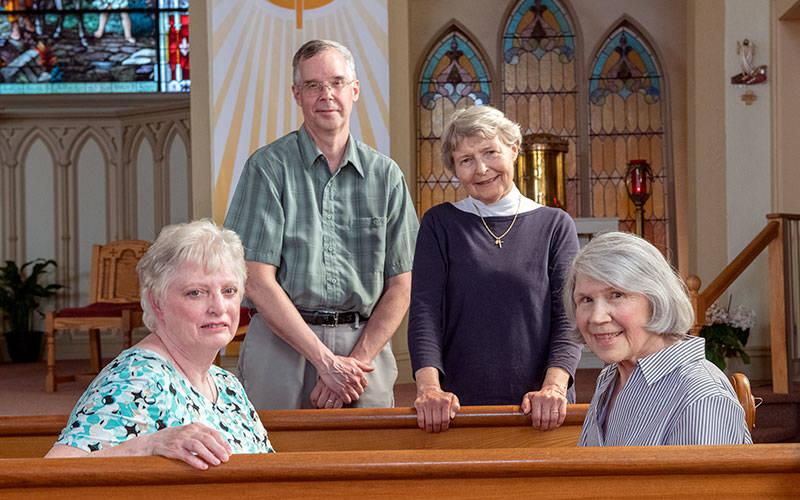 <p> Adoration-chapel organizers Marianne Hoffkins (from left), John Steiner, Suzanne Waterstraat and Nancy Ferrari are seen at St. Joseph Church in Rush.</p>