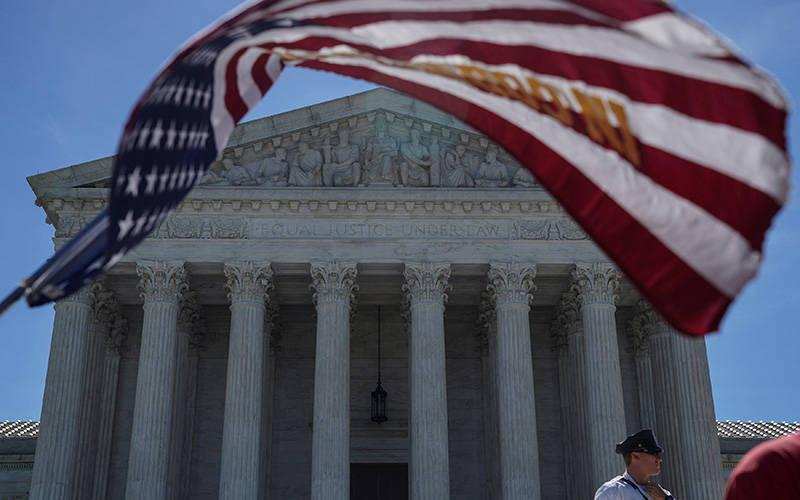 <p>A U.S. flag flies in front of the Supreme Court in Washington June 25, 2018. (CNS photo by Toya Sarno Jordan/Reuters)  </p>