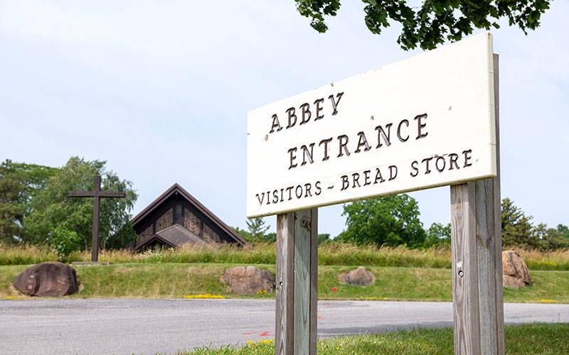 <p>The entrance to the Abbey of the Genesee is seen June 25 in Piffard, Livingston County. (Courier photo by Jeff Witherow)  </p>