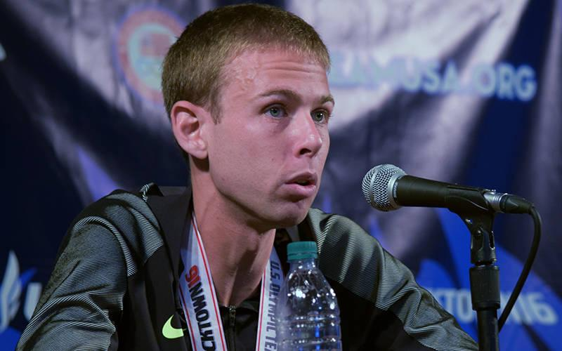 <p>Galen Rupp speaks at a news conference during the 2016 U.S. Olympic Trials in Eugene, Ore. (CNS photo by Ken Niezgoda/Catholic Sentinel)  </p>