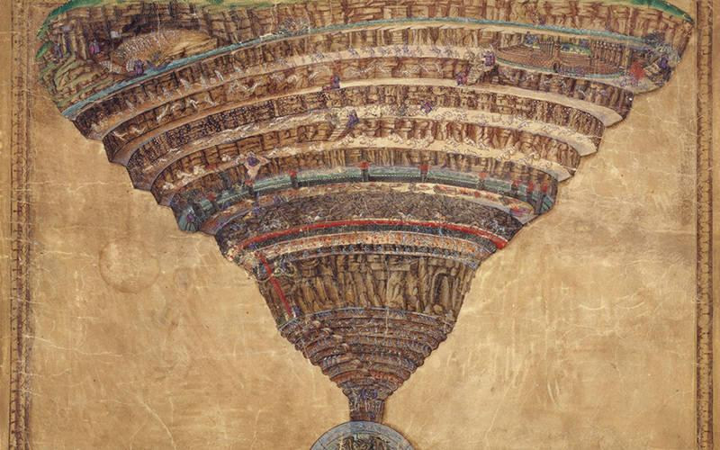 """<p> A illustration by Sandro Botticelli of the infernal abyss from Dante Alighieri's """"Divine Comedy"""" is part of the manuscript collection of the Vatican Library.</p>"""