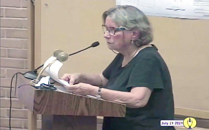 <p>Carol Crossed speaks at a July 21 hearing in Brighton regarding construction of a Planned Parenthood facility. </p>