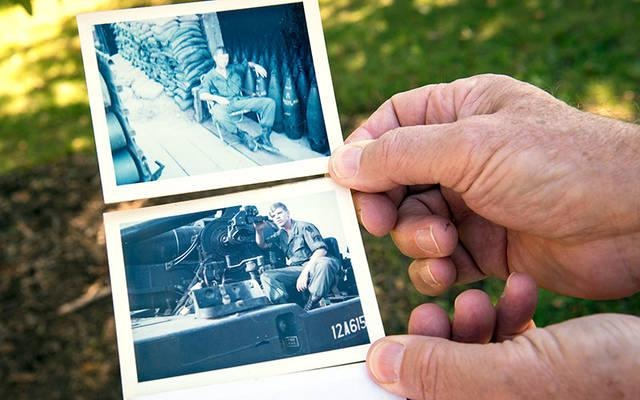 <p>Vietnam veteran Jerry McDermott displays photos of himself from his time in the service.  </p>