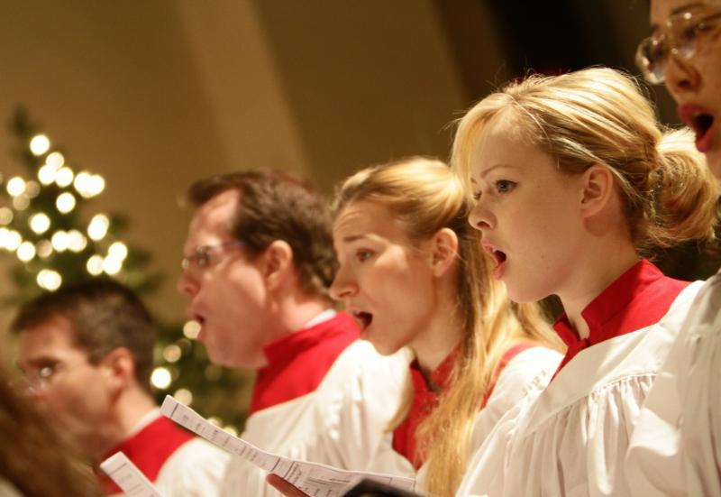 Members of the choir sing during the annual Christmas concert at St. Malachy's Church -- The Actors' Chapel in New York.