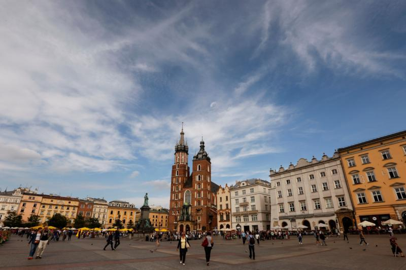 The gothic St. Mary's Basilica anchors the main square in Krakow, Poland. The city, once the royal capital of Poland, will host the international World Youth Day in July.