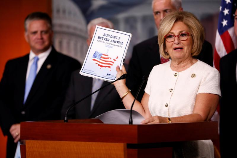 Rep. Diane Black, R-Tenn., announces the 2018 House budget blueprint during a news conference on Capitol Hill in Washington July 18.