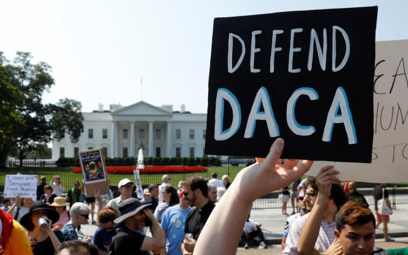 "People demonstrate near the White House in Washington Sept. 5. Attorney General Jeff Sessions announced Sept. 5 that the DACA program is ""being rescinded"" by President Donald Trump, leaving some 800,000 youth, brought illegally to the U.S. as minors, in peril of deportation and of losing permits that allow them to work."