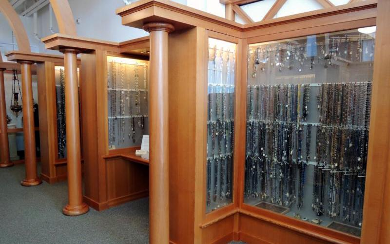 Rosaries are seen Sept. 20 at the Columbia Gorge Interpretive Center Museum near Stevenson, Wash., in Skamania County. The center's collection of rosaries has been verified as the largest in the world.