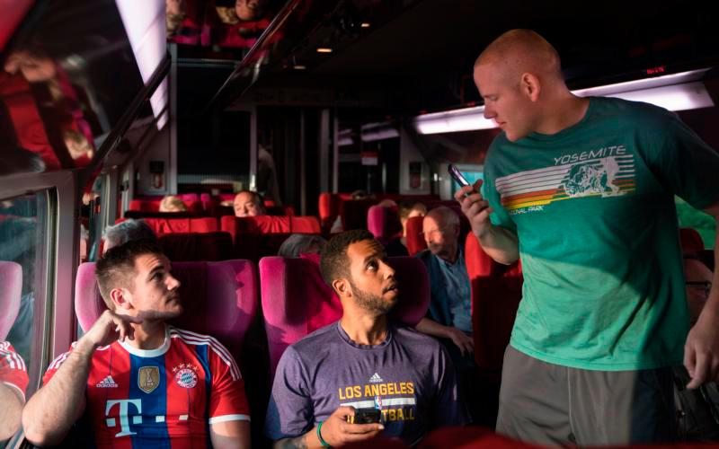 "Alek Skarlatos, Anthony Sadler and Spencer Stone portray themselves in the movie ""15:17 to Paris."" While on a backpacking trip in 2015 through Europe, their Paris-bound train was attacked by a terrorist and the three childhood friends were able to subdue him, saving the lives of the more than 500 passengers on board the train. (CNS photo courtesy Warner Bros)"
