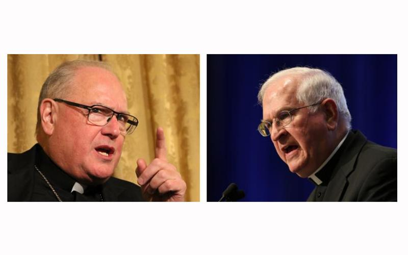 Cardinal Timothy M. Dolan of New York, chairman of the bishops' Committee on Pro-Life Activities, and Archbishop Joseph E. Kurtz of Louisville, Ky., chair of the Committee for Religious Liberty, are pictured in a combination photo. (CNS photos by Greg Shemitz/Bob Roller)