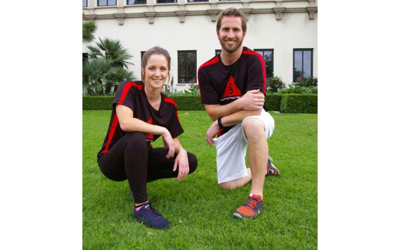 Brenda Sigmund and Jordan Friske of San Diego pose for a photo in this undated photo. They are personal trainers at Catholic Fitness Training, a ministry that offers workouts infused with Catholic spirituality. (CNS photo by Denis Grasska/The Southern Cross)