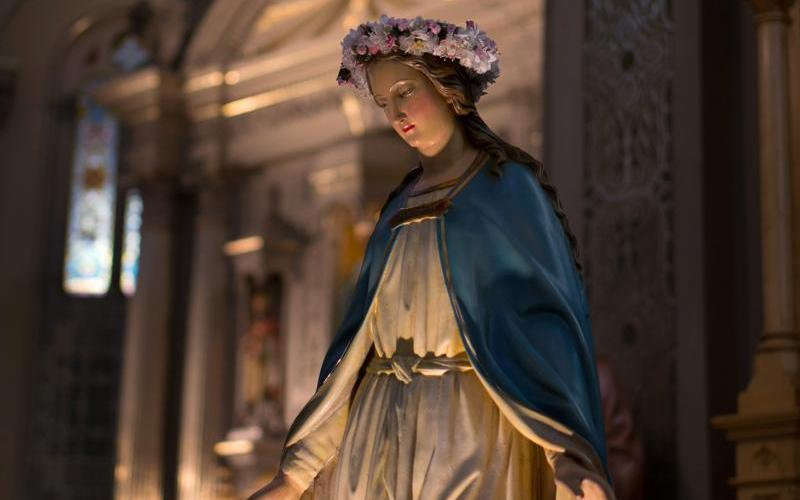 A statue of Mary is seen at Old St. Mary's Catholic Church in the Greektown neighborhood of Detroit in this 2015 file photo. The Detroit Archdiocese is celebrating the new feast day for Mary, Mother of the Church with a May 21 Mass at Old St. Mary's followed by a May Crowning and procession. (CNS photo courtesy Archdiocese of Detroit)