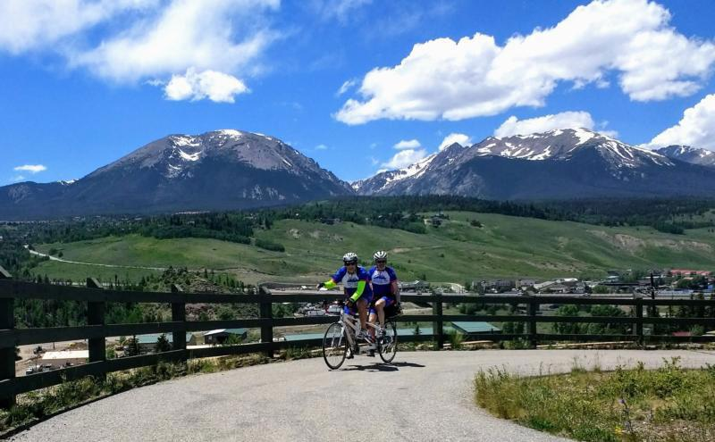 Tom Dea and Andre van Hall, part of Team Samaritan House cycling team, take part in the Ride the Rockies June 9-15 in Frisco, Colo. Participating in the high-altitude ride of more than 400 miles in the Colorado Rockies over six days, the team raised money for programs and services provided by Denver Catholic Charities for homeless people. (CNS photo courtesy Catholic Charities of Denver and Team Samaritan House)