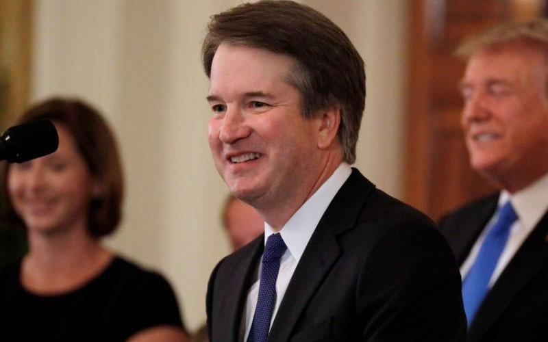 Brett Kavanaugh, a Catholic, who is a judge on the U.S. Court of Appeals for the District of Columbia Circuit, smiles July 9 at the White House in Washington after President Donald Trump named him his Supreme Court nominee. (CNS photo by Jim Bourg/Reuters)