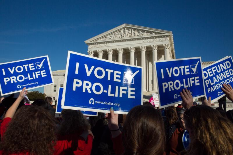 Pro-life advocates gather near the U.S. Supreme Court during the annual March for Life in Washington Jan. 19. (CNS photo by Tyler Orsburn)