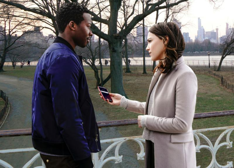 "Brandon Michael Hall and Violett Beane star in a scene from the television show ""God Friended Me."" The CBS premier is Sept. 30. (CNS photo by CBS Entertainment)"