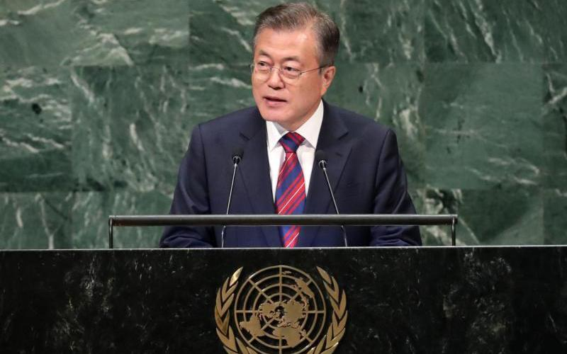 South Korean President Moon Jae-in addresses the 73rd session of the U.N. General Assembly in New York Sept. 26. The South Korean president's office said when Moon meets Pope Francis Oct. 18, he will pass along an invitation for the pope to visit North Korea. (CNS photo by Carlo Allegri, Reuters)