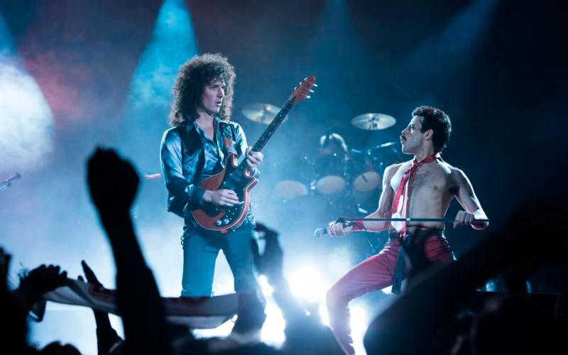 "Gwilym Lee and Rami Malek star in a scene from the movie ""Bohemian Rhapsody."" (CNS photo by Fox)"