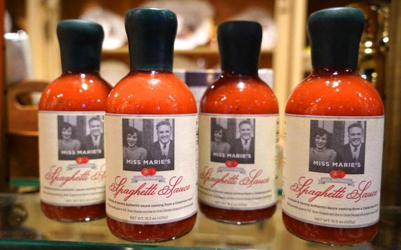 Miss Marie's Spaghetti Sauce is displayed at the high-end retailer L.V. Harkness & Co. in Lexington, Ky., Oct. 22. The sauce was created by Father Jim Sichko of the Diocese of Lexington to honor his late mother and he donates part of the proceeds from sauce sales to the diocese and to Southeast Texas Hospice. (CNS photo by Katie Rutter)