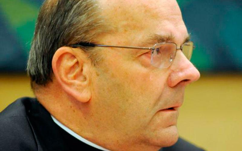 Bishop Robert J. Cunningham of Syracuse, N.Y., is pictured during a Sept. 21, 2012, news conference. The Diocese of Syracuse has released a list of clergy credibly accused of abusing minors, which goes back to the 1950s. (Courier photo by Mike Crupi)