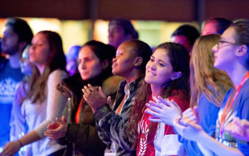 "Young adult Catholics enjoy the closing concert at the ""Panama in the Capital"" event, a stateside festival Jan. 26, 2019, at The Catholic University of America in Washington coinciding with World Youth Day led by Pope Francis in Panama City. (CNS photo by Mihoko Owada/Catholic Standard)"