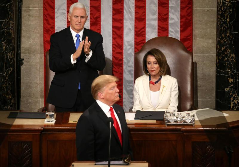 U.S. Vice President Mike Pence applauds and House Speaker Nancy Pelosi, D-Calif., looks on as President Donald Trump delivers his second State of the Union address Feb. 5, 2019, at the Capitol in Washington. During his speech Trump urged Congress to pass legislation that bans late-term abortion. (CNS photo by Leah Millis/ Reuters)