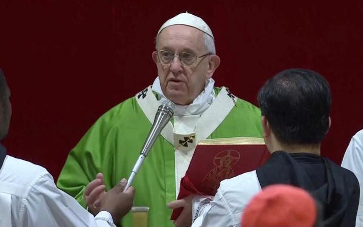 Pope Francis celebrates a Mass on the last day of the four-day meeting on the protection of minors in the church at the Vatican Feb. 24, 2019, in this image taken from Vatican television. (CNS photo by Vatican Television via Reuters)