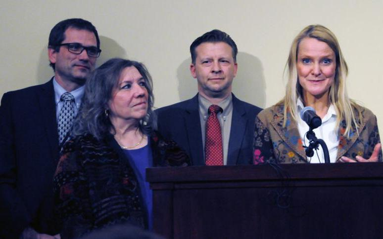 Moana Patterson, at left, a teacher at Valley View Elementary in Bountiful, Utah, appears at a March 11, 2019, news conference, where she told reporters she never would have asked her student, William McLeod, to wash off the ashes on his forehead if she had known they were a sacred religious symbol. (CNS photo by Linda Petersen/Intermountain Catholic)