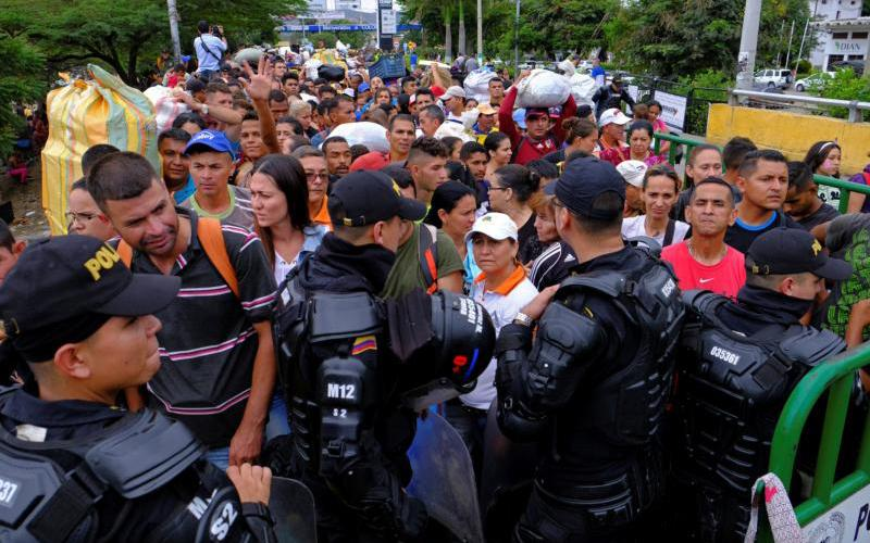 Colombian riot police block the way to the Colombian side in the Colombian-Venezuelan border in Cucuta April 2, 2019. (CNS photo by Ferley Ospina/Reuters)