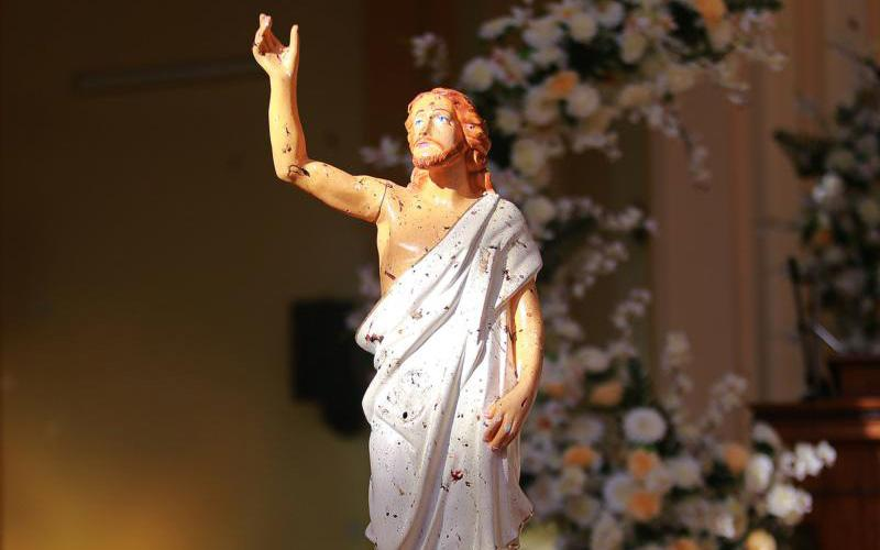 A blood-stained statue of Christ is seen after a bombing at St. Sebastian Church in Negombo, Sri Lanka, April 21, 2019. At least 200 people were killed and hundreds more injured on Easter Sunday in Sri Lanka when attackers unleashed an apparently coordinated series of bombings that simultaneously targeted Christian churches and luxury hotels. (CNS photo by Reuters)
