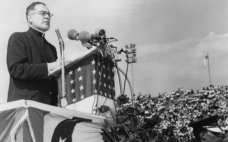 """An image from the new documentary """"Hesburgh,"""" about Holy Cross Father Theodore Hesburgh, the priest who led the University of Notre Dame for 35 years. (CNS photo courtesy OCP Media)"""