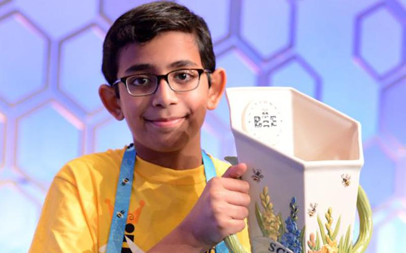 Christopher Serrao holds the trophy after being named the co-champion of the 92nd Scripps National Spelling Bee May 30, 2019. (CNS photo courtesy Dominic Serrao)
