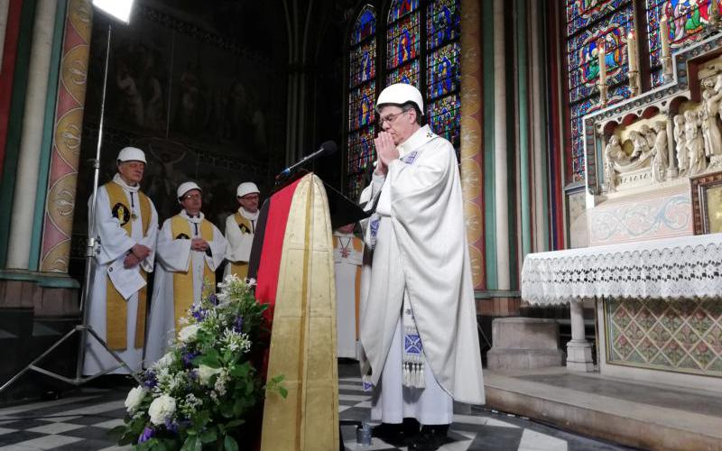 Archbishop Michel Aupetit of Paris celebrates Mass in the Chapel of the Virgin inside Notre Dame Cathedral June 15, 2019.(CNS photo by Karine Perret/pool via Reuters)