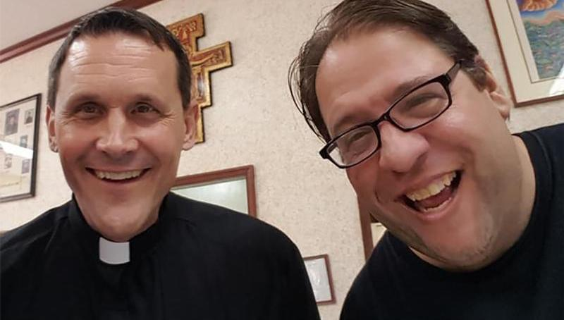 Father Don Woznicki of Los Angeles is pictured with Carl Kozlowski, co-founder of Catholic Laughs, in this undated photo. (CNS photo courtesy Catholic Laughs)