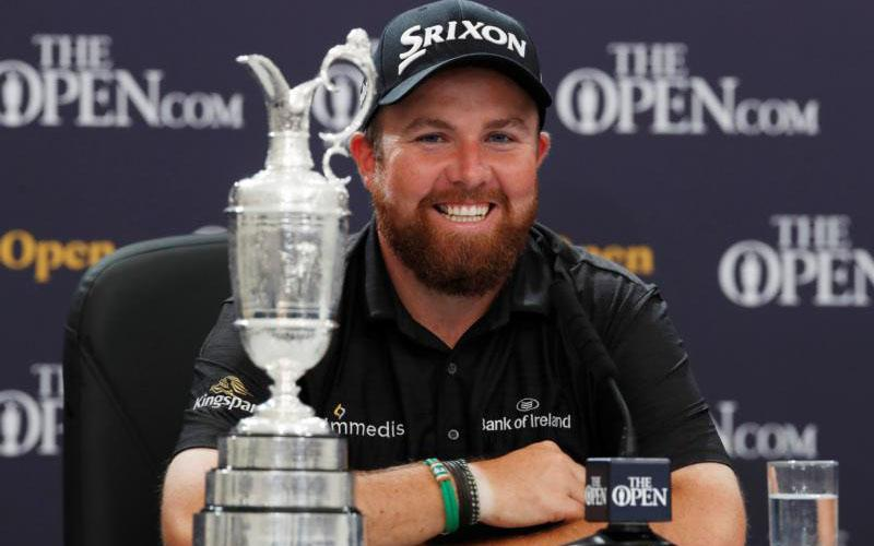 Irish golfer Shane Lowry is seen with his trophy during a news conference after winning the British Open July 21, 2019, in Portrush, Northern Ireland.  (CNS photo by Paul Childs, pool via Reuters)
