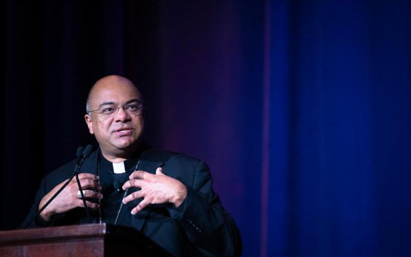 Bishop Shelton J. Fabre of Houma-Thibodaux, La., chair of the U.S. Conference of Catholic Bishops' Ad Hoc Committee Against Racism, gives the opening remarks for a Feb. 3, 2019, panel discussion about racism in the church and society during the Catholic Social Ministry Gathering in Washington. (CNS photo by Tyler Osburn)