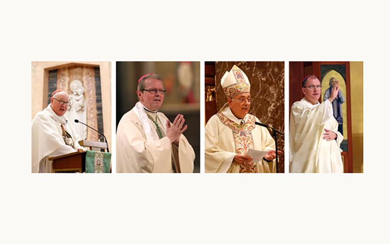 New York Cardinal Timothy M. Dolan and Bishops Edward B. Scharfenberger of Albany, Nicholas DiMarzio of Brooklyn and John O. Barres of Rockville, center, are pictured in a combination photo.