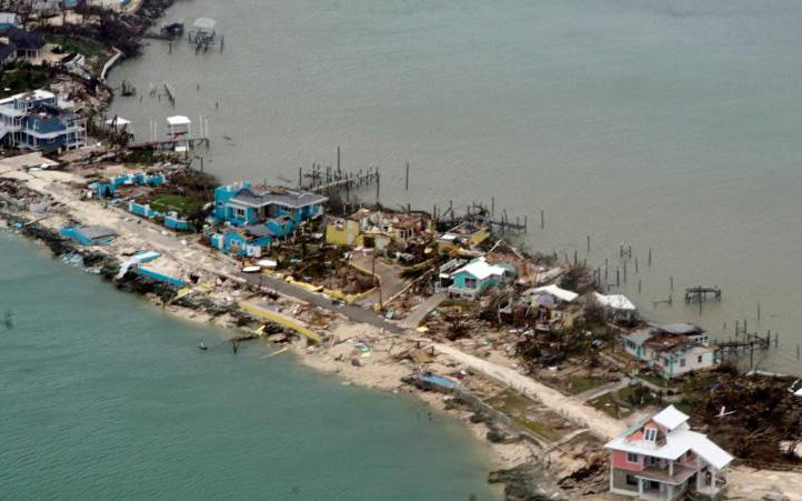 An aerial view shows Hurricane Dorian damage over an unspecified location in the Bahamas in this Sept. 3, 2019, photo.