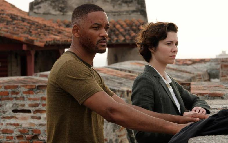 "Will Smith and Mary Elizabeth Winstead star in a scene from the movie ""Gemini Man."""